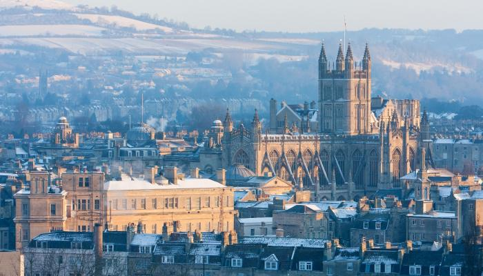 Bath skyline covered in snow