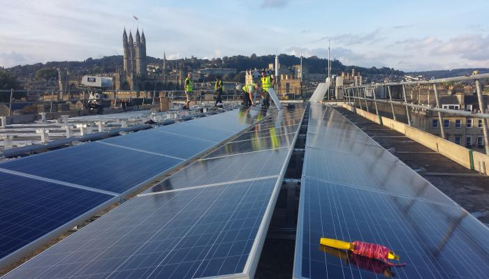 Solar installation on Bath commercial rooftop