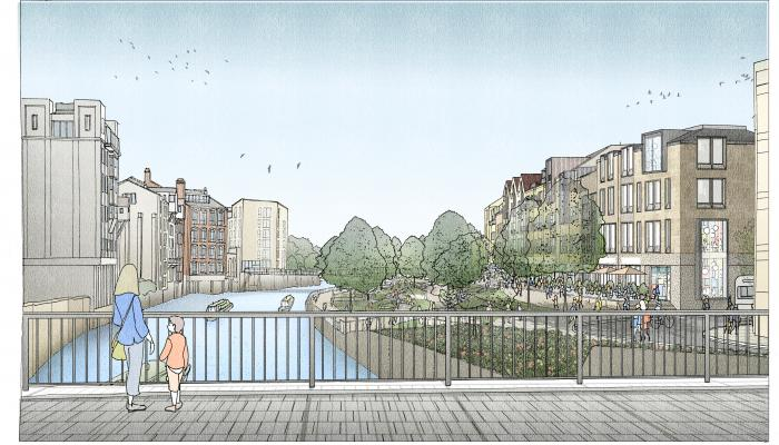 Illustrative view of Bath Quays North site from Churchill Bridge