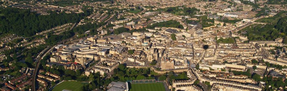 City of Bath at dawn, from the air